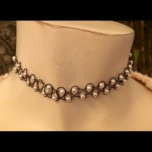 Jewelry - Black plastic with faux pearl tattoo necklace